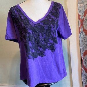 Lane Bryant 14/16 Purple beaded tee w/blk pattern